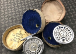 Hardy Marquis - Made in England - #4 Fly Reel - C/W Spare Spool & Original Vinyl Zippered Cases - GREAT SHAPE! - $225