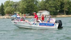 Having fun in the Dead Lake flotilla parade