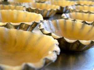 Sandbakkels on Cookie Sheet, ready for baking. Photo courtesy, Daytona of outsideoslo.wordpress.com. Used with permission.