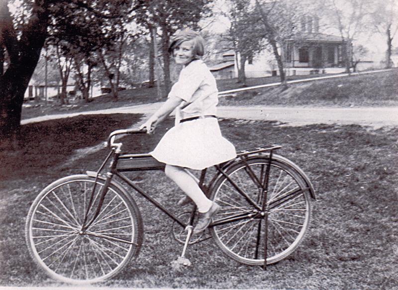Gertrude Saffrin on her bike
