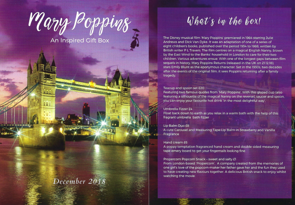Description of what's in the box of Quaintly & Co's Mary Poppins Gift Box