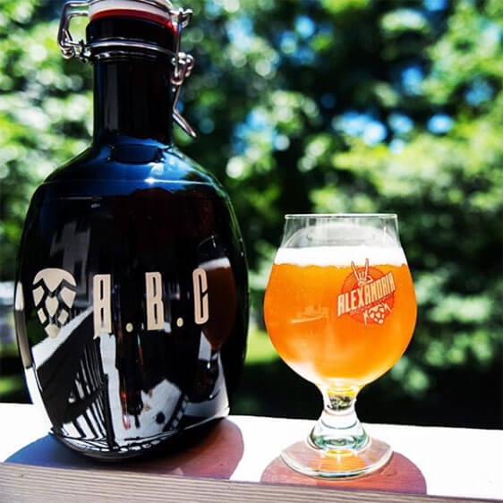 Alexandria Brewing Company's alternate mark and logo featured on a growler and glass