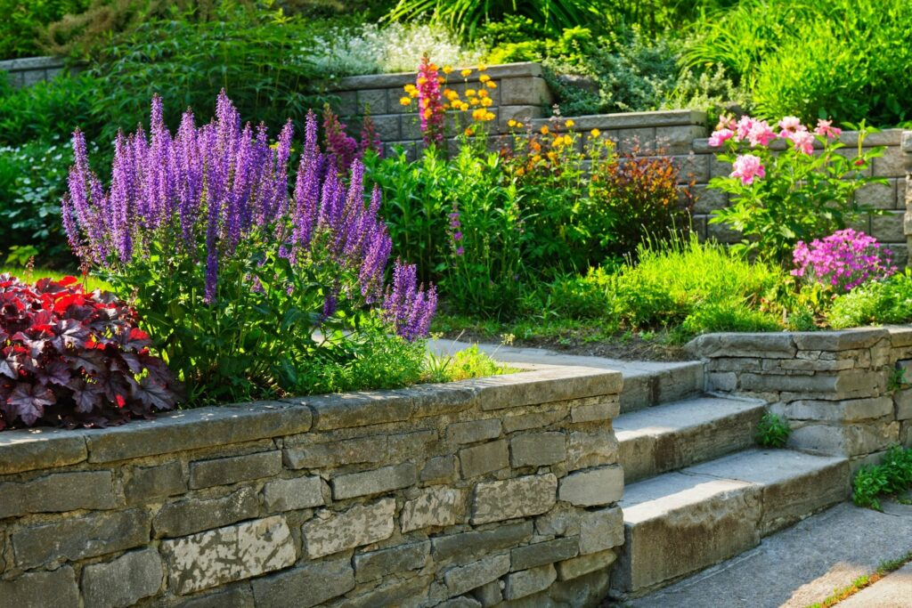 Photo of stone retaining wall and steps with colorful garden plantings