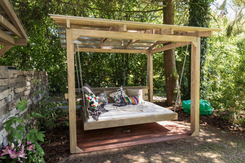 Photo of suspended outdoor bed