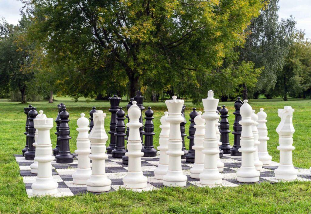 Photo of oversized backyard chess game
