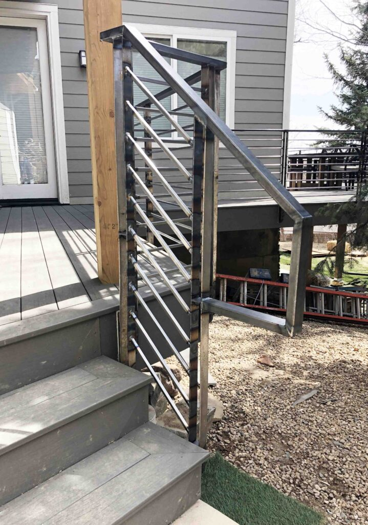 Stair rail termination on South Boulder deck.