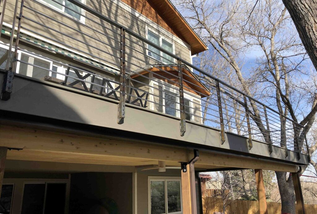 Southern face of outdoor deck in South Boulder. 100 lineal feet of this gorgeous railing!