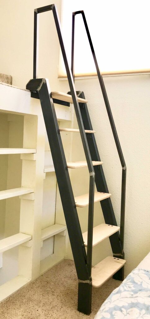 Steel ladder with Applewood treads, custom dimensions built for a loft.