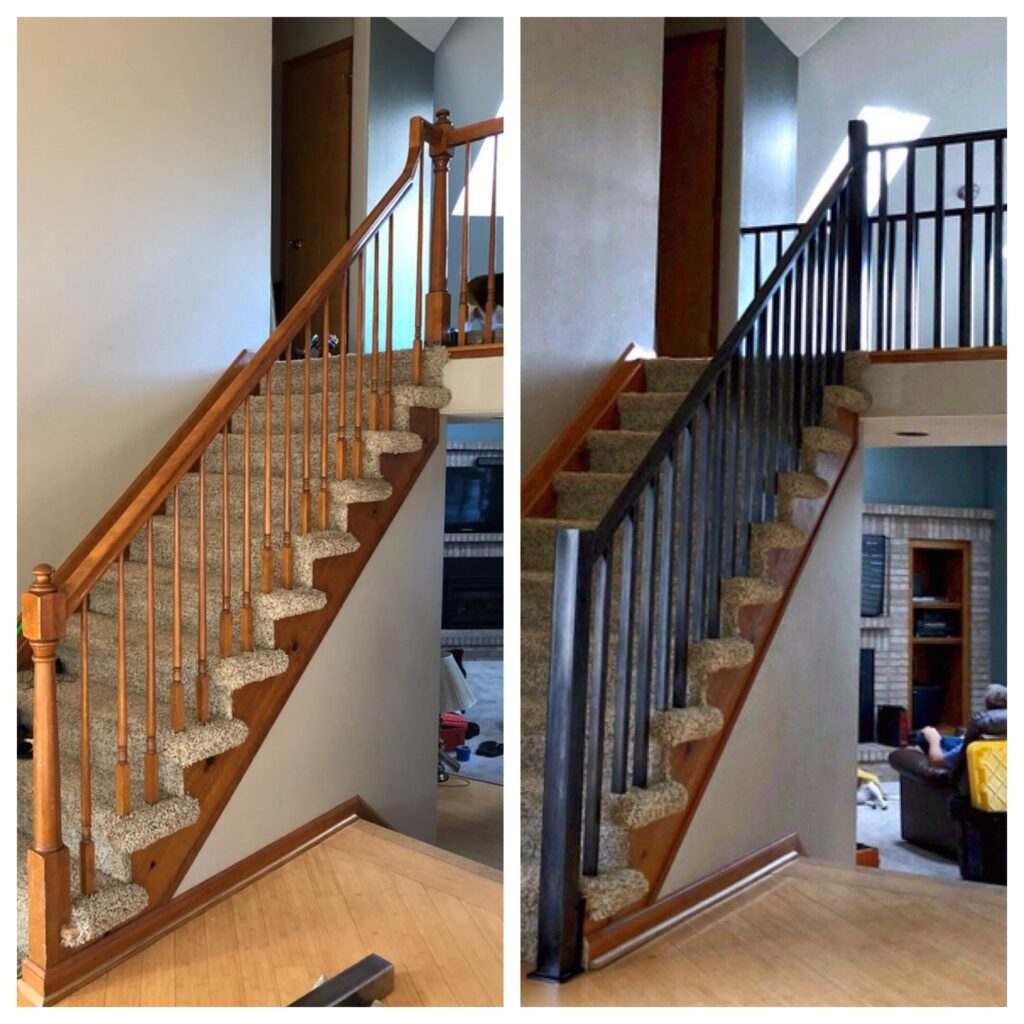 This 1990's Louisville home is being prepped for sale. The original railing was broken at the gooseneck at the top of the stairs so we were called in to quickly replace the entire railing. The home has 4 guardrails, 1 stair railing (pictured) and 2 handrails. We designed, fabricated, installed and finished the railing before professional pictures were scheduled. Whew!