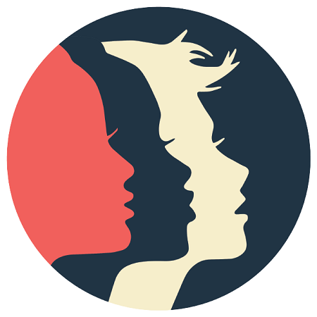 Logo: silhouettes of three women in profile, representing diverse ethnicities