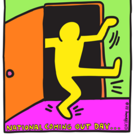 colorful cartoon image of a person passing through a doorway