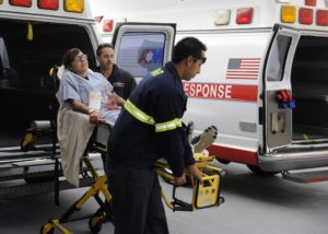 111117-N-KR503-059 SAN DIEGO (Nov. 17, 2011) Paramedics deliver a simulated casualty to Naval Medical Center San Diego (NMCSD) during a command-wide mass casualty drill. The drill tested the abilities of the hospital's internal response organization, emergency management team and NMCSD's decontamination team. (U.S. Navy photo by Mass Communication Specialist 3rd Class Jessica L. Tounzen/Released)