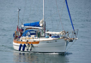 Cruising boat motoring along
