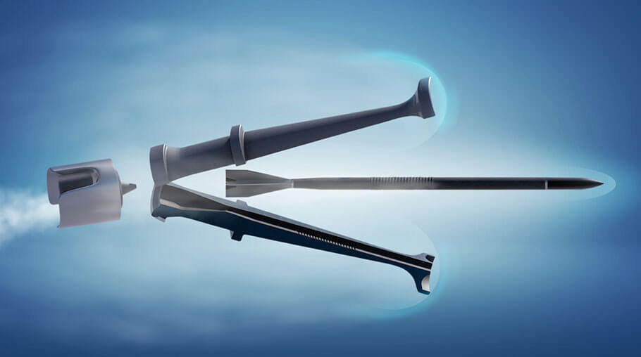 sabot consulting projectile opening propelled 3d blue background