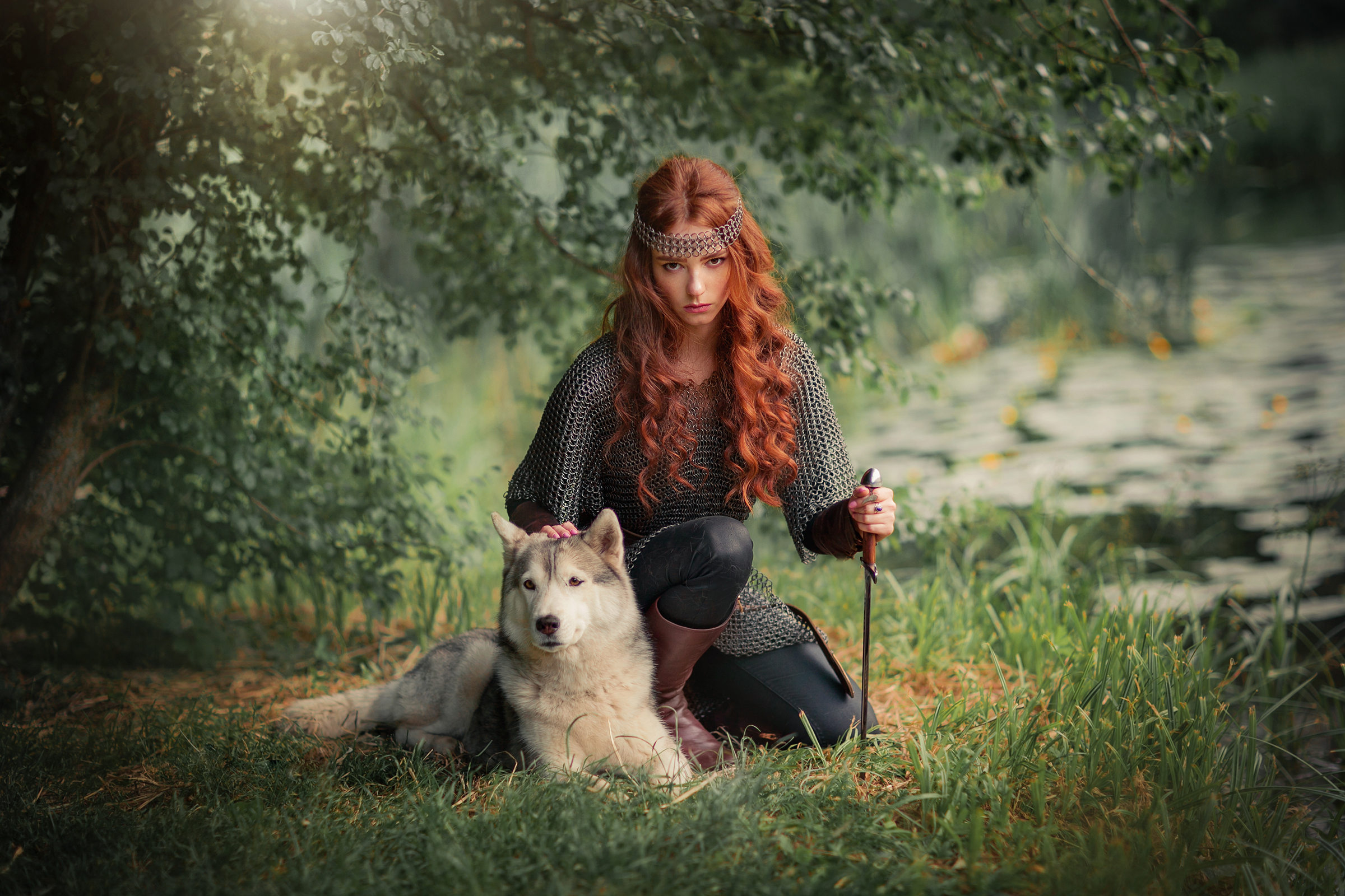 female warrior with dog