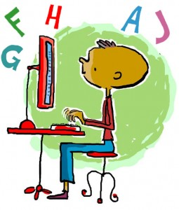 illustration of a boy typing by Peter Reynolds