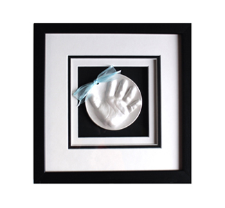 WP Creations Raised Impression Handprint White blue ribbonMats