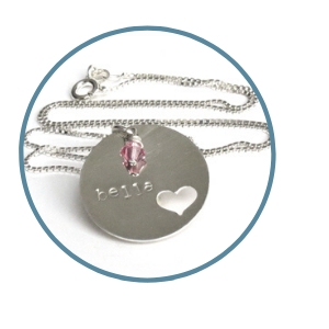 Stamped Bella Heart cut out pendant