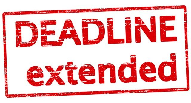 "Illustration of the words ""deadline extended"""