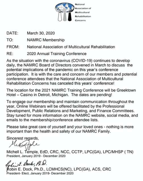 NAMRC 2020 Conference Postponed Letter