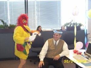 Hire Singing Chicken. Costumed  Balloon Artist