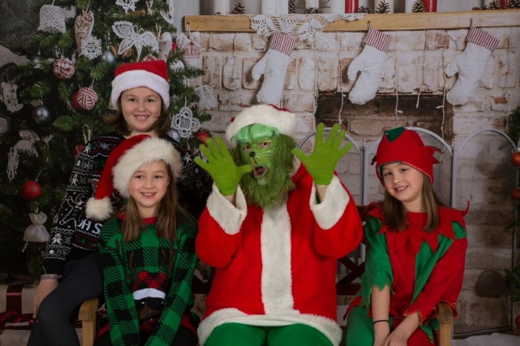 Hire The Grinch. Our Grinch with professional face painting and Santa's Elves