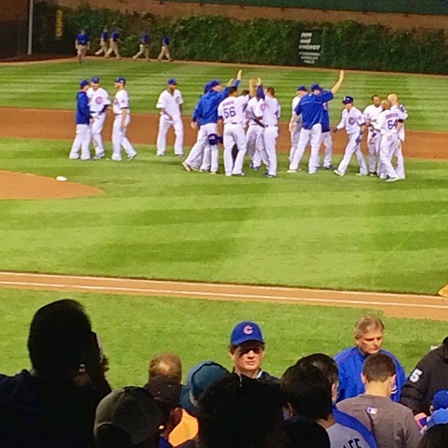 Bottom of the 9th, tied 1-1, 2 outs, 2 strikes, 1 guy on 2nd base. The pitch, the swing -- Crack Going, Going, Gone. It's gone. Inside the park home run. Cubs Win. Cubs Win! #cubs #chicago #baseball #homerum