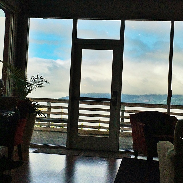 #fog rolling over the #mountains. My view from breakfast. Late start. Taking #us101 down the #pacific ocean to #redwoods #redwoodnationalpark Going to catch the #sunset in the #redwood forrest