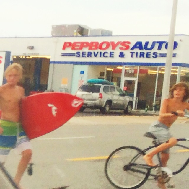 Surf kids cross highway. #jax #jaxbeach #jacksonville #florida