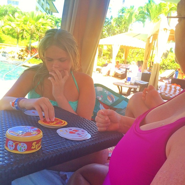 My Girls Play Cards in the shade.