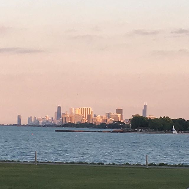 Downtown #chicago from #northwesternuniversity at #sunset