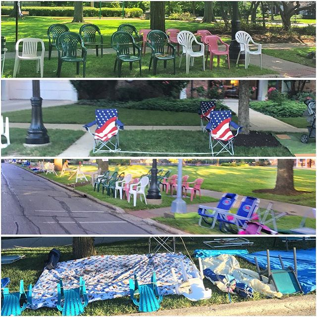 4th of July Seating Reservation (apparently the folks in Evanston take their parades very seriously and stake their seating days ahead)