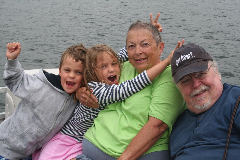 Ginny & Jay with their grandchildren circa 2007. Sara just turned 7 - Edan is 4 turning 5.