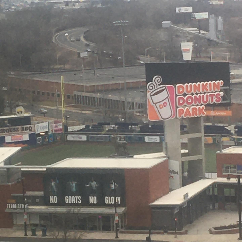 "Duncan Donuts Ballpark. Home of the Hartford Yard Goats. ""No Goats No Glory!"""