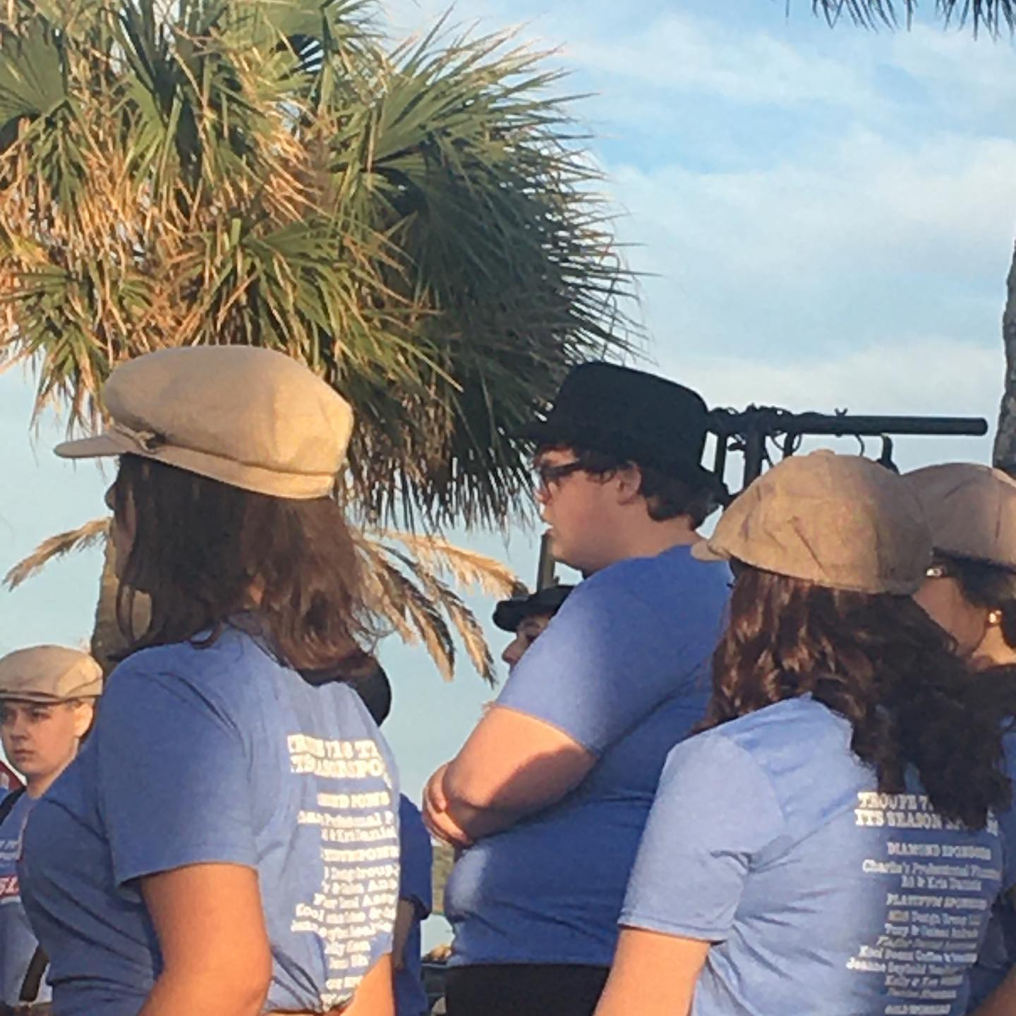 Newsies Promotion at the Beach Pavilion during Bike Week.  #newsies  #flaglerbeach #matanzasthespianclub