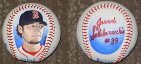 Dave Shorey, Jarrod Saltalamacchia of the Boston Red Sox painted baseballs