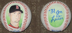 Lester of the Boston Red Sox painted baseballs
