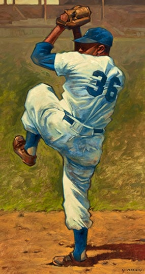 Sports Artist Gary Davis with Mickey Mantle Painting