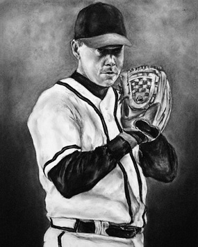 Tom Glavine in charcoal, by Lauren Creedon