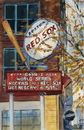 Mark Waitkus, World Series Game 1: Sign on Brookline Ave.