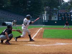 Dan Field bats at Doubleday Field