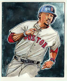 Dave Olsen, Mookie Betts of the Boston Red Sox Illustration