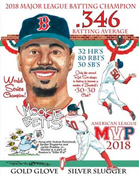 Frank Galasso, Mookie Betts of the Boston Red Sox Tribute