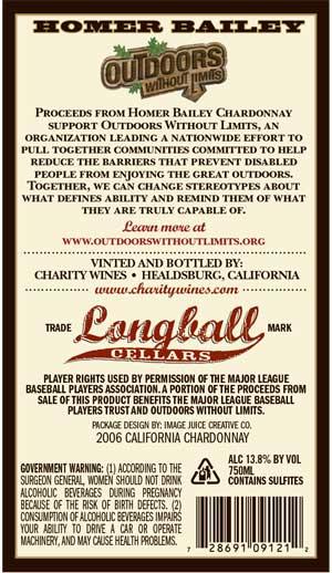 Homer Bailey, Homer Chardonnay wine label back