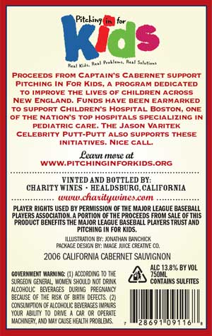 Jason Varitek, Captain's Cabernet wine label back