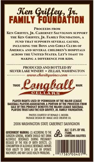 Ken Griffey, Jr., Junior Cabernet in Cincinnati wine label back
