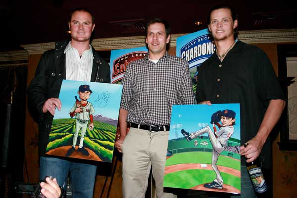 Mike Briggs with Jon Lester and Clay Buchholz of Boston Red Sox