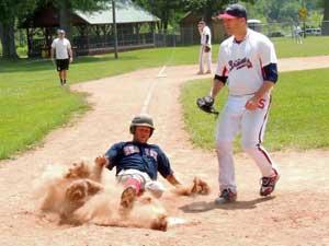Sliding Home Safely at Winsor Baseball Field