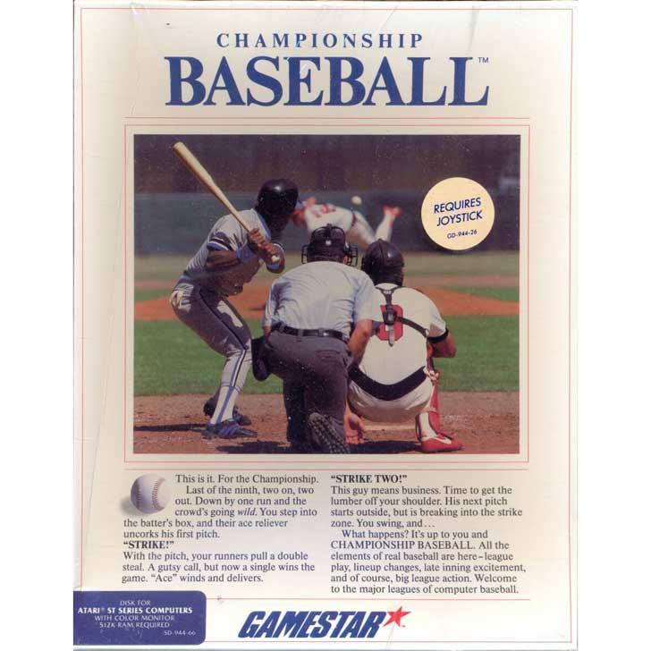 Championship Baseball by Gamestar for Atari