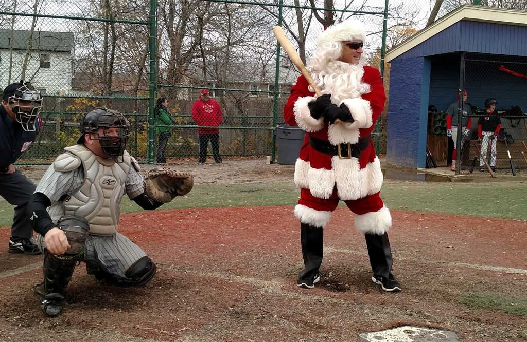Santa Claus Batting at Winterball Baseball